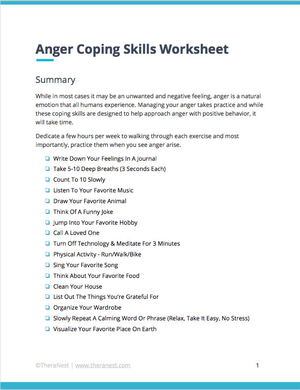 Help your clients keep the anger management techniques you discuss during sessions top of mind with our printable free Coping With Anger Worksheet
