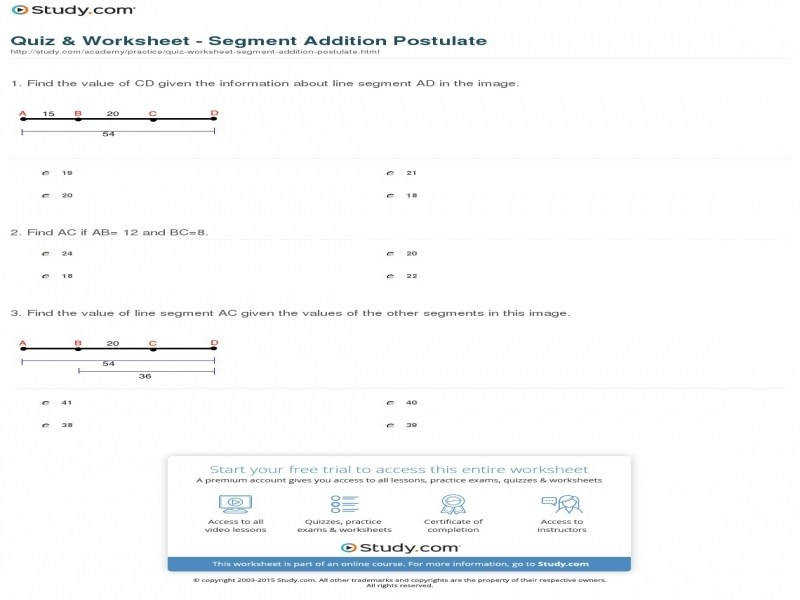 Quiz & Worksheet – Segment Addition Postulate