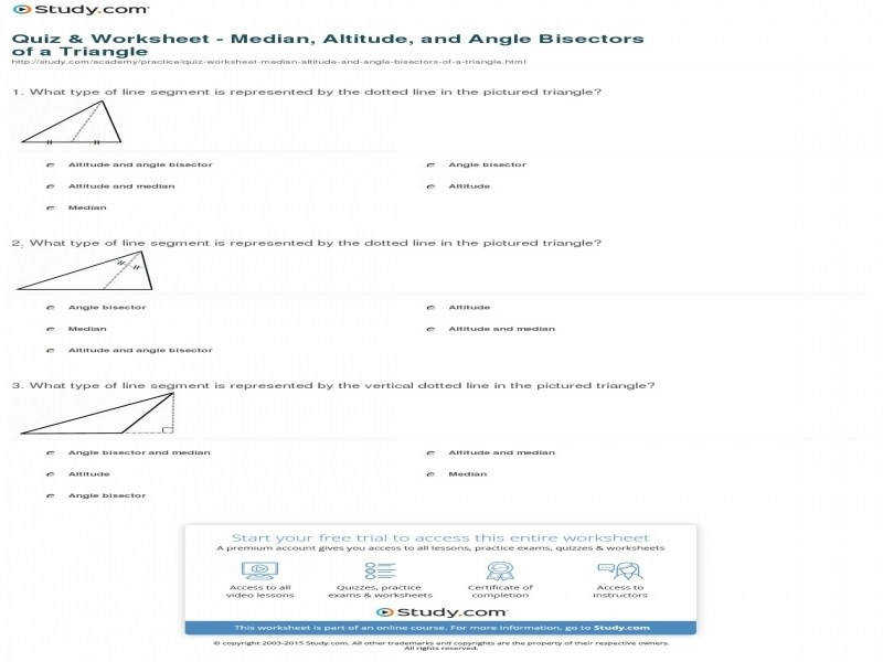 Quiz & Worksheet – Median Altitude And Angle Bisectors