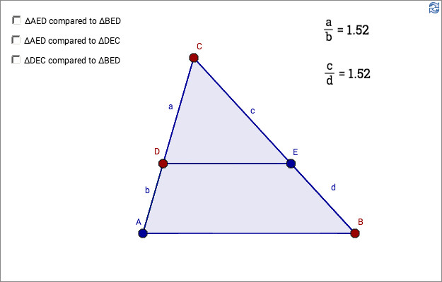 Load GeoGebra worksheet similar triangles 1