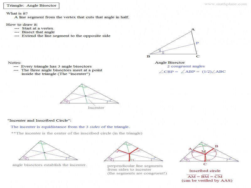 Math Plane – Triangle Parts Median Altitude Bisectors
