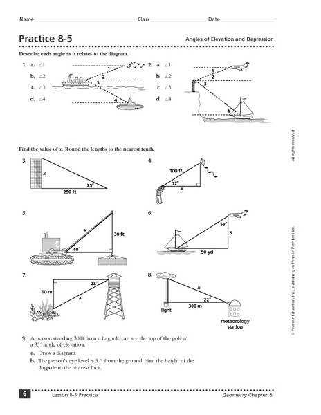 Angle Elevation And Depression Worksheet Samsungblueearth