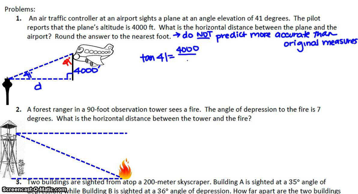 Geometry 8 5 Angles of Elevation and Depression