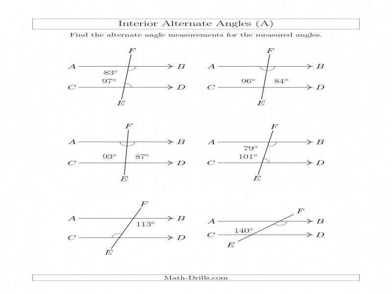 Interior Alternate Angle Relationships A