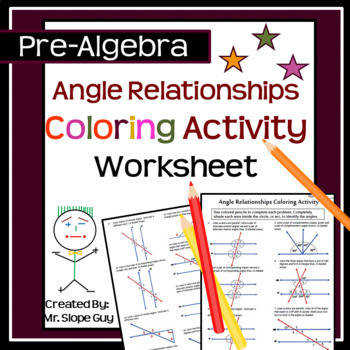 Angle Relationships Coloring Activity Geometry PDF Worksheet Go Math 8 G A 5