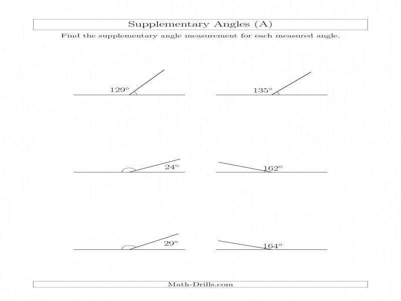 Supplementary Angle Relationships A
