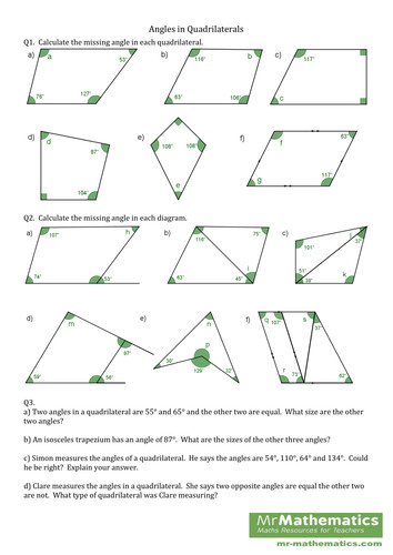 Angles in Triangles and Quadrilaterals lesson by danbar1000 Teaching Resources Tes