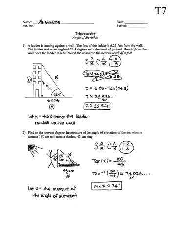 Kindergarten Angle Elevation And Depression Worksheet 2 Answers Worksheets