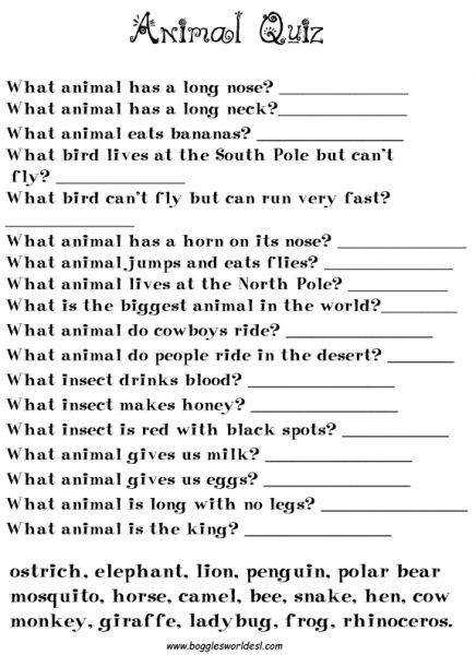 Animal Worksheets Chinese Whispers Game