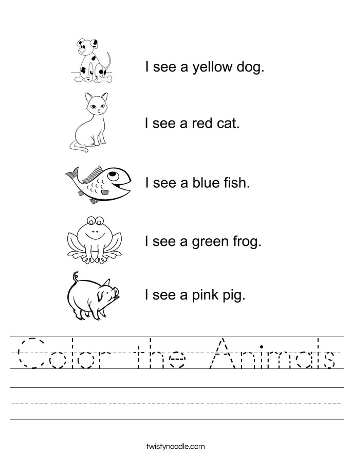 Color the Animals Handwriting Sheet