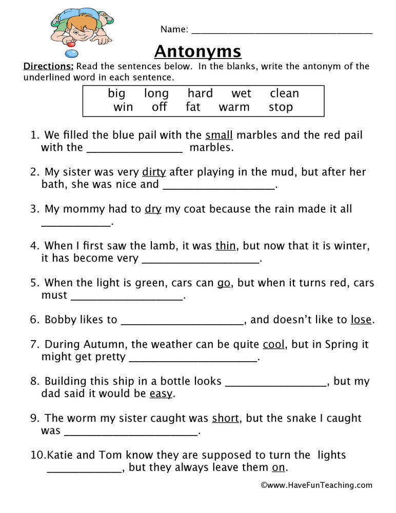 Antonym Worksheet
