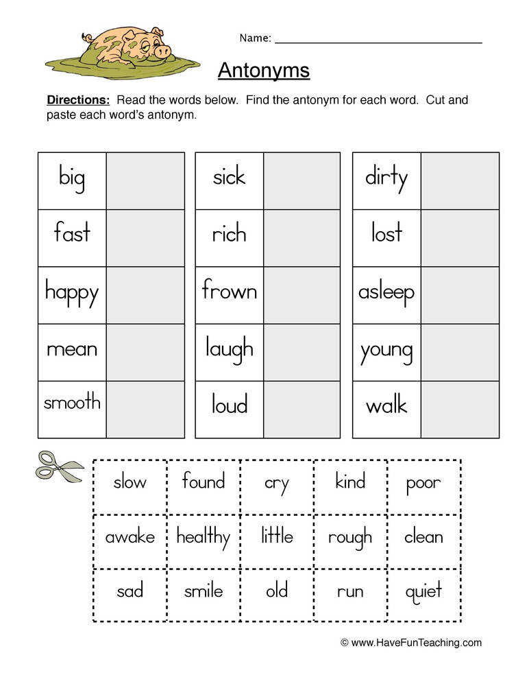 Antonyms Worksheet 1