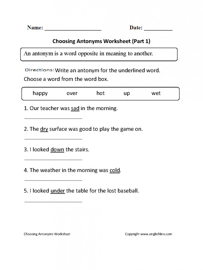 Englishlinx Antonyms Worksheets For Kindergarten Choosing P 1 Beg Antonyms Worksheets For Kindergarten Worksheet Medium