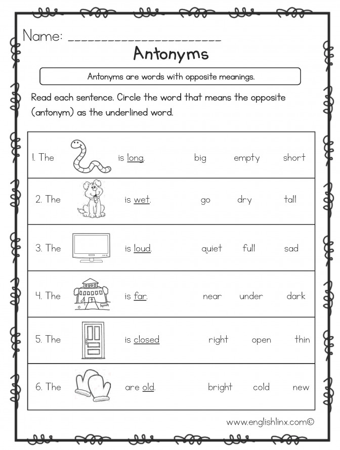 Kindergarten Antonym Worksheet Opposite Words Adjectives Antonyms Worksheets With Picture Antonyms Worksheets For Kindergarten Worksheet Medium