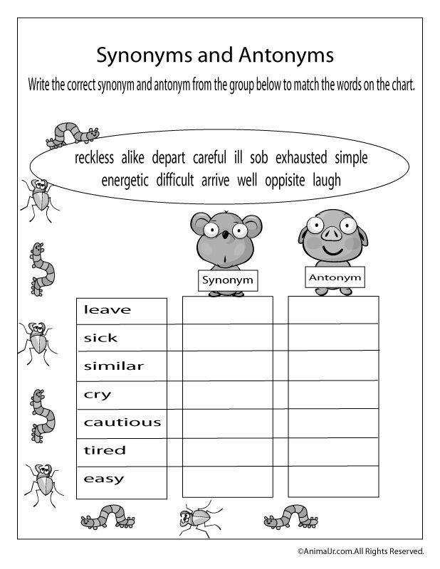 Spring Worksheets Spring Antonyms and Synonyms Worksheet – Classroom Jr