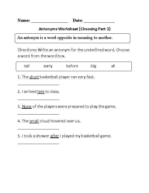 These Antonyms Worksheets are great for working with Antonyms Use these antonyms worksheets for the beginner intermediate and advanced levels
