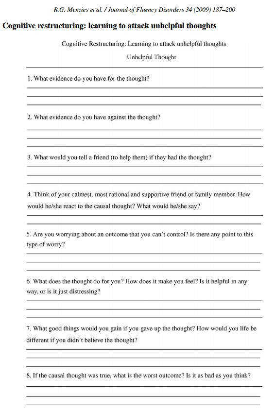 CBT Worksheet from redefiningbodyimage This looks like a really wonderful worksheet exercise to perform for those struggling with breaking down anxious or
