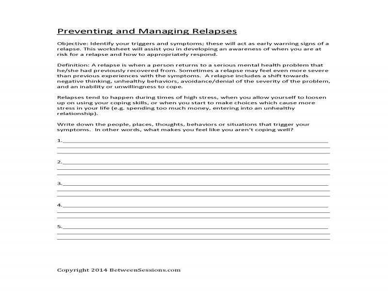 Between Sessions Anxiety Worksheets For Adults