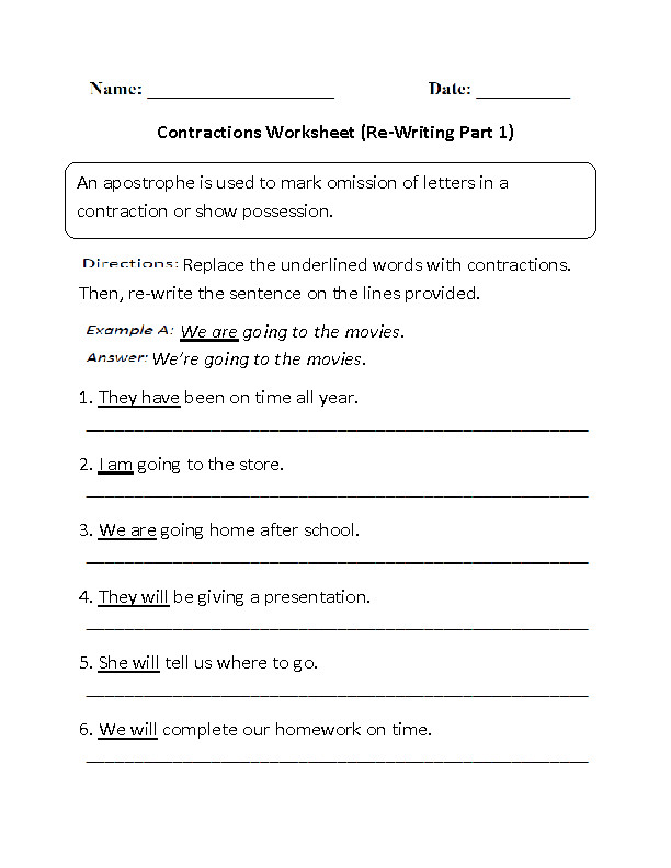 Contractions Worksheet Part 1