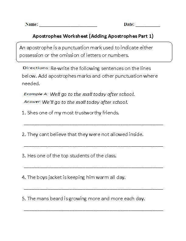 Adding Apostrophes Worksheets Worksheet Part 1