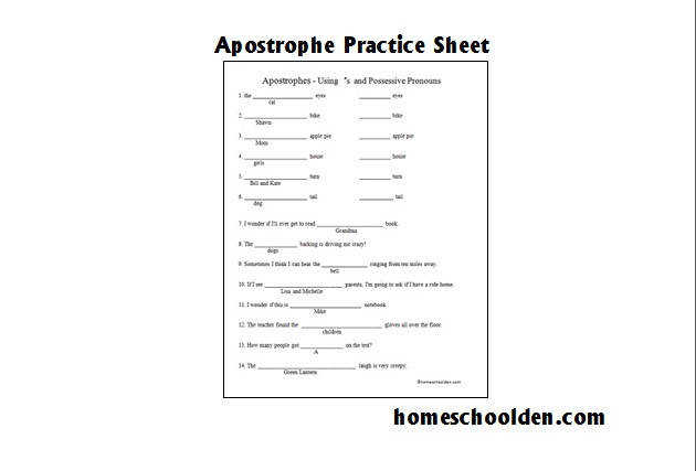 Free Apostrophe Worksheet
