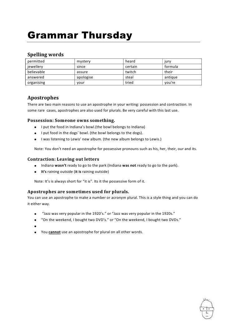 Apostrophes worksheet Grammar Thursday Spelling words permitted mystery