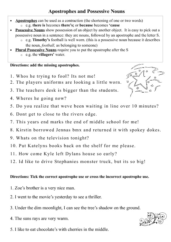 apostrophe worksheet 0