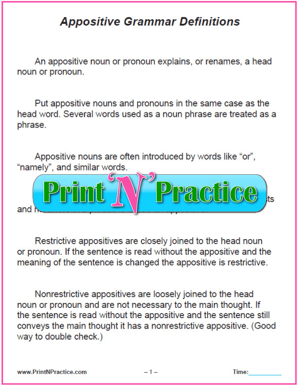 Appositive Definition Chart