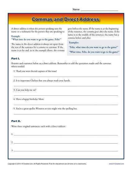mas and Direct Address Printable Worksheet Activity mas are essential when using a direct