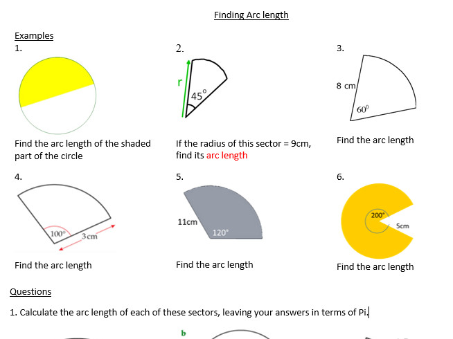 Arc length of sectors and problem solving by luna123 Teaching Resources Tes