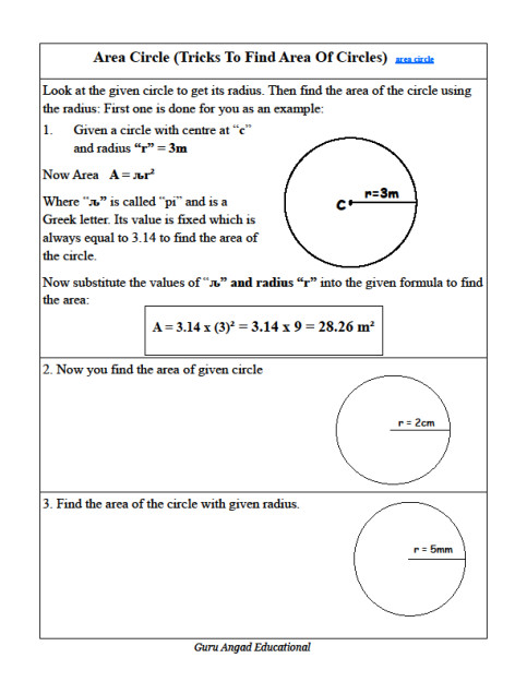 This lessons and worksheets explains how to use the radius to find the area of any