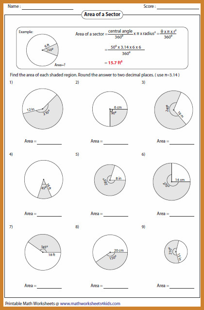 area of a circle worksheet area sector large area