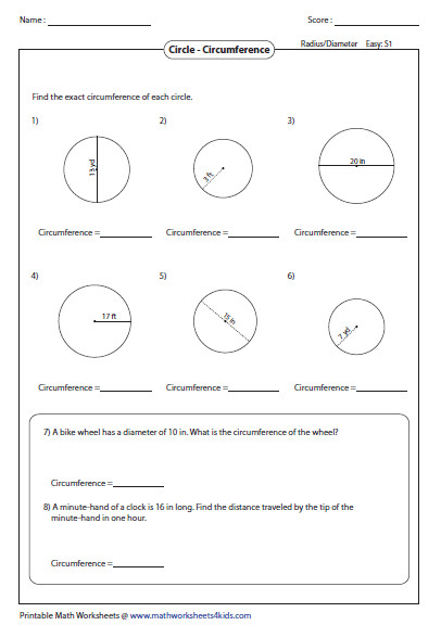Circumference Worksheets