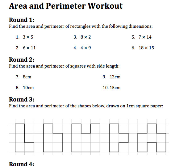 area and perimeter workout