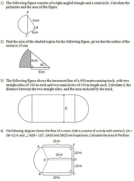 Area of figures that include circles part 2 Worksheets and Solutions