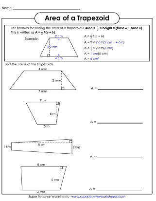 Area of Trapezoids Printable Area of Parallelograms Worksheet