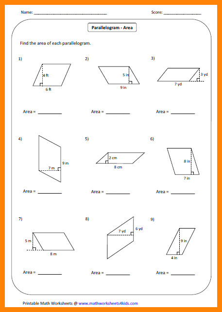 area of trapezoid worksheetea parallelogram large