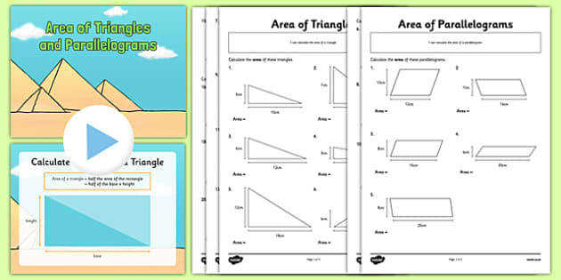 T2 M 1657 Area of Triangles and Parallelograms Powerpoint and Activity Sheets Pack