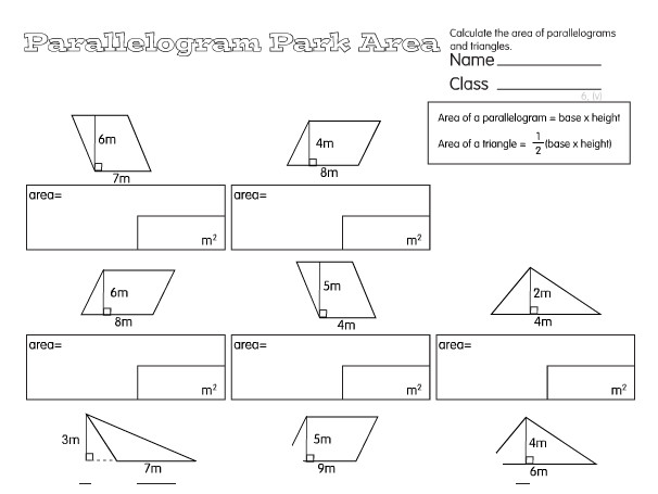 Preview of Parallelogram Park Area A year 6 Measure worksheet