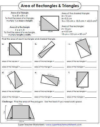 Area Worksheets 4th Grade
