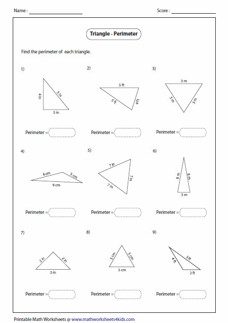 Area and Perimeter of Triangles up to 1 decimal place range 1 5 Triangles Worksheets
