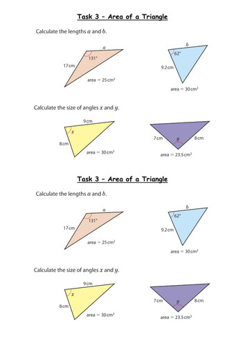Trigonometry Area of a Triangle Grade A by whidds
