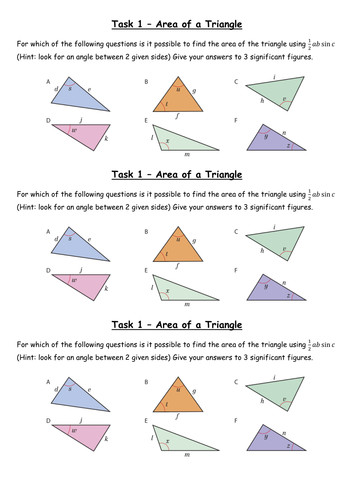 Trigonometry Area of a Triangle Grade A by whidds Teaching Resources Tes