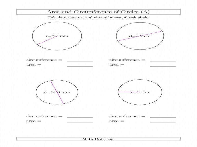 Calculate Circumference And Area Circles A