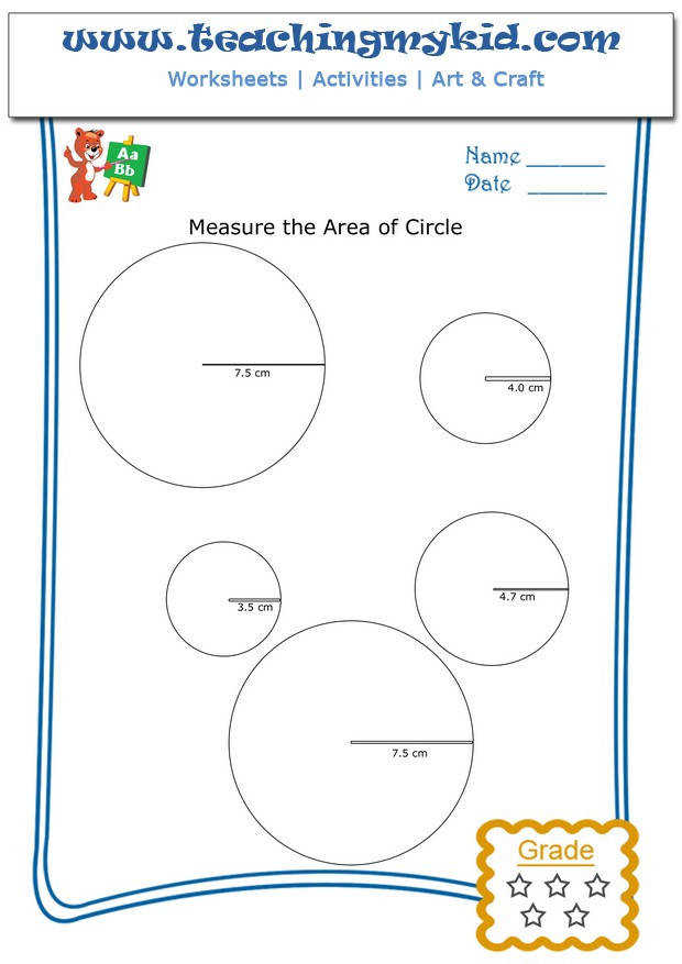 Kids math worksheets – Measure area of circle – Worksheet 4