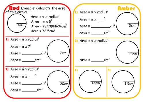 Area of a Circle Scaffolded Differentiated RAGE Sheet by wtongue Teaching Resources Tes