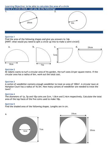 Area of a Circle Further Questions Worksheet by swaller25 Teaching Resources Tes