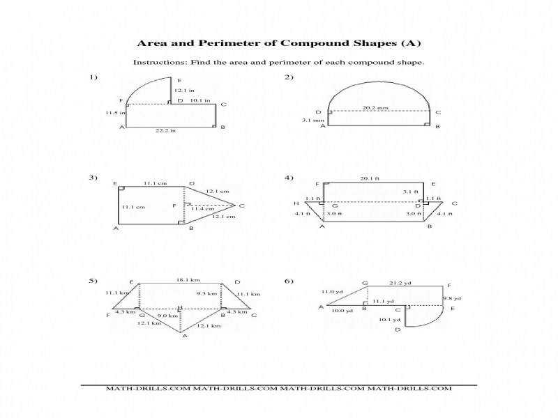 Area And Perimeter pound Shapes A