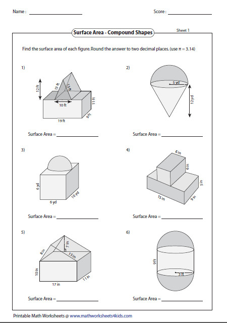 Surface area of pound shapes