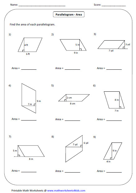 Area Of Parallelogram Worksheet | Homeschooldressage.com